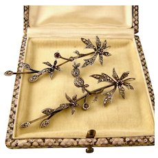 """Edwardian Marcasite and Garnet Floral Earrings, Outstanding Design, 2-3/4"""", Hallmarked"""