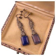 """Art Deco Blue Chalcedony Earrings in Sterling Silver, 2-1/2"""""""