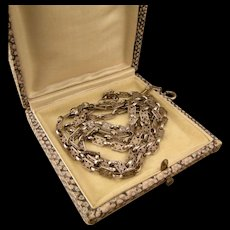 """Antique Long Chain, Sterling Silver, Germany, 40"""""""