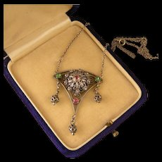 Victorian Canetille Necklace with Pastes
