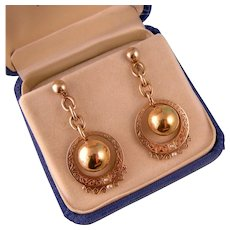 Wonderful 14K Gold Ball and Hoop Earrings with Seed Pearls
