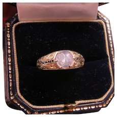 Antique 14K Gold Moon Face Ring, Carved Moonstone