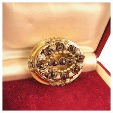 Large Antique Victorian Garnet Brooch