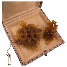 Victorian Horn Brooch and Earring