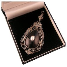 Theodor Fahrner Black Enamel Pendant with Mother of Pearl, Marcasites