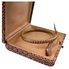 Art Deco Snake Bracelet with Garnet, Kollmar Jourdan, Germany