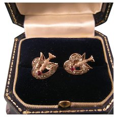 Victorian Hearts with Birds Earrings, Ruby and Paste, 10k Gold