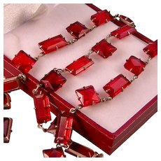 Art Deco Brilliant Red Glass Necklace in Sterling