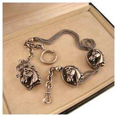 Victorian Watch Chain, Three Double-Sided Horse Heads, Sterling