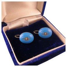 Victorian Blue Enamel and Seed Pearl Earrings, 15ct