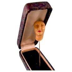 Art Deco Enameled Face Stick Pin