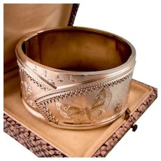 Ornate Victorian Bangle Bracelet, Silver with Gold, Butterfly