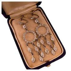 """Antique Paste Chandelier Earrings, 2-3/4"""""""