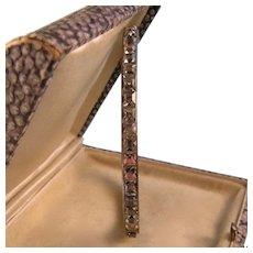 Art Deco Clear Paste Bangle Bracelet, Sterling, 1920s