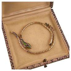 Art Deco Enameled Snake Bracelet, Rodi and Wienenberger, Germany