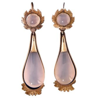Victorian 9ct Drop Earrings, Day and Night, 2-1/4""