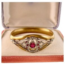Large Edwardian Bracelet with Faux Rubies and Diamonds