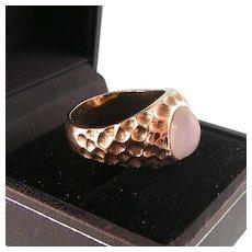 Vintage 10K Gold Moonstone Ring, Unisex, Size 8-1/2