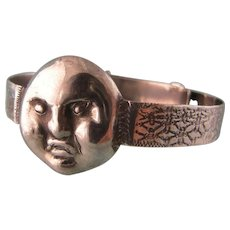 Wonderful Moon Faced Bracelet, Sterling Silver, Very Small