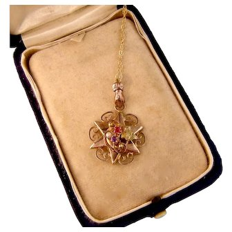 Antique Hand Bail and Star Pendant Necklace, Rose Gold Fill and Pastes