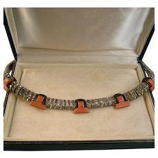 Art Deco Bakelite and Rhinestone Collar Necklace, DRGM, Schreiber & Hiller