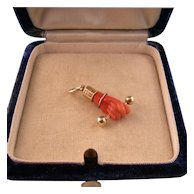 Victorian Carved Coral Hand Pendant, 14K Gold