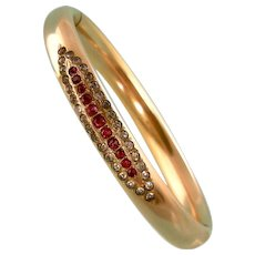 Antique Red and Clear Paste Bangle Bracelet in Rosy Gold Fill