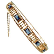 Art Deco Open Worked Bangle with Faux Sapphires
