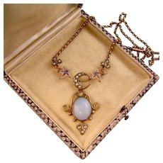 Victorian Opaline Glass and Seed Pearl Necklace with Moon, Ivy and Clover