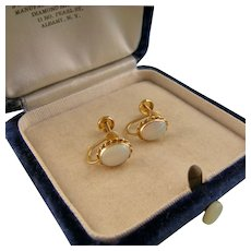 Vintage 14k Opal Earrings, Small and Lightweight