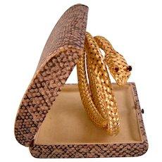 Art Deco Mesh Snake Bracelet with Red Eyes