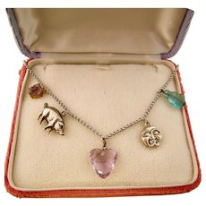 Vintage Charms Necklace with Moon Face, Hearts, Pig, Buddha