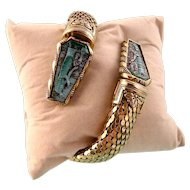 Egyptian Revival Coiled Snake Bracelet with Glass Panels, Pristine