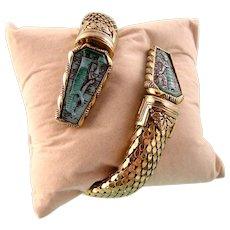 Egyptian Revival Coiled Snake Bracelet with Glass Panels, Pristine