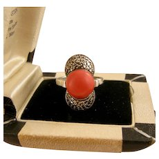 Theodor Fahrner Coral Ring with Marcasites