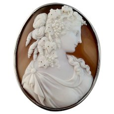 Victorian Shell Cameo Brooch of Dionysus, Exquisite, Large Size
