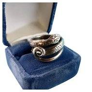 Big Silver Snake Ring, Size 7.5
