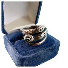 Big Silver Snake Ring, Size 7.5