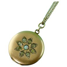 Antique Locket with Genuine Opal and Pastes in Rosy Gold Fill