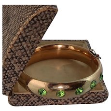 Victorian Big Bangle Bracelet with Lime Green Pastes