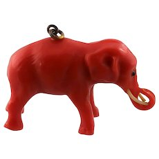 Delightful Coral Celluloid Elephant Charm or Pendant