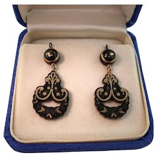 Victorian Pique Earrings, Natural Shell with Gold Inlay