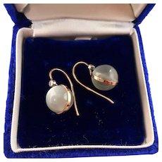 Art Deco Moonstone and Diamond Earrings, 14k Rose Gold