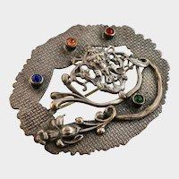 Art Nouveau Sash Pin with Grotesque Face and Bright Pastes