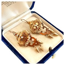 """Victorian Earrings with Dangles and Seed Pearls, 2"""""""