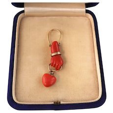 Victorian Natural Coral Hand and Heart Pendant, 14k Gold