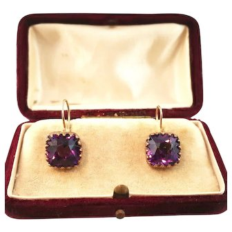 Antique Amethyst Paste Earrings, Rose Gold on Silver