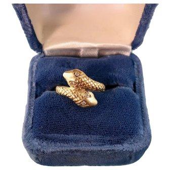Antique 14k Gold Snake Ring, Diamond Eyes