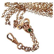 """Antique Guard Chain, Emerald and Diamond Paste Slide, Kollmar Kette, 52"""""""