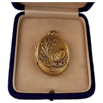 Victorian Ornate Engraved Locket with Swan, Flowers, Seed Pearls, and Pastes